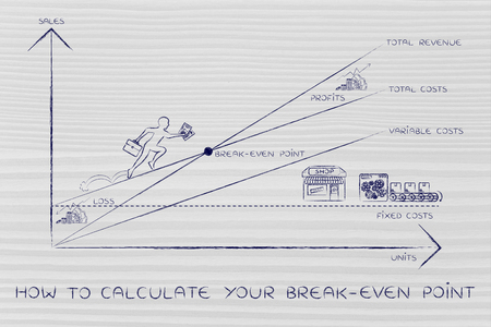 loss leader: how to calculate your break-even point: graph with icons and business owner running and climbing on the results Stock Photo