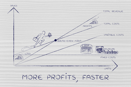 total loss: more profits, faster: break-even point graph with icons and business owner running and climbing on the results