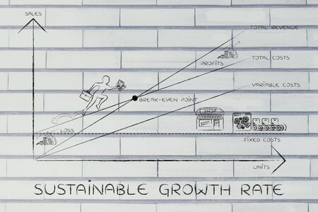sustainable growth rate: break-even point graph with icons and business owner running and climbing on the results 版權商用圖片