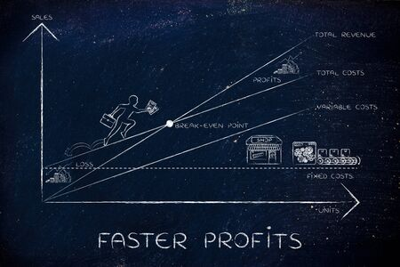 faster: faster profits: break-even point graph with icons and business owner running and climbing on the results