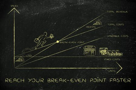 loss leader: reach your break-even point faster: graph with icons and business owner running and climbing on the results