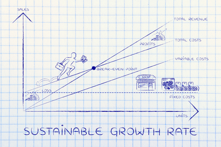 total loss: sustainable growth rate: break-even point graph with icons and business owner running and climbing on the results Stock Photo