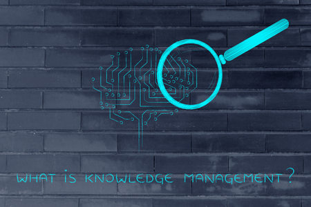 circuitry: what is knowledgemanagement: magnifying glass Analyzing an electronic brain circuitry Stock Photo