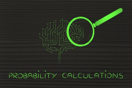 probability: probability caculations: magnifying glass analyzing an electronic circuit brain Stock Photo