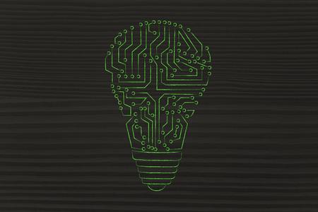 circuitos electronicos: electronic circuits creating the shape of a lightbulb Foto de archivo