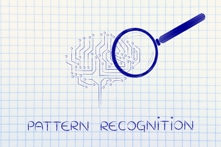 aggregation: pattern recognition: magnifying glass analyzing an electronic circuit brain