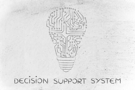 thinking machines: decision support system: electronic circuits creating the shape of a lightbulb