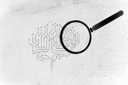 magnifying glass analyzing an electronic circuit brain