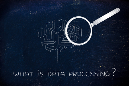 aggregation: what is data processing: magnifying glass analyzing an electronic circuit brain