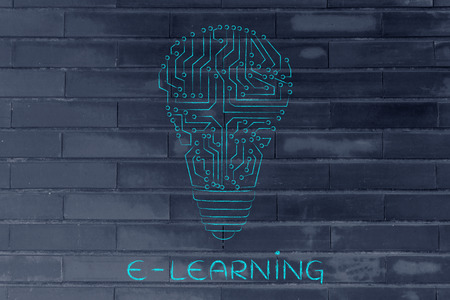 circuitos electronicos: e-learning: circuitos electr�nicos que crean la forma de una bombilla Foto de archivo