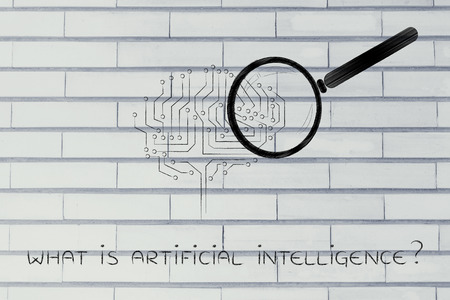 thinking machines: what is artificial intelligence: magnifying glass analyzing an electronic circuit brain