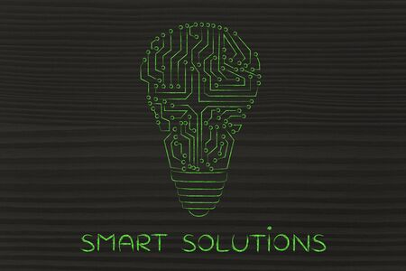 circuitos electronicos: smart solutions: electronic circuits creating the shape of a lightbulb Foto de archivo
