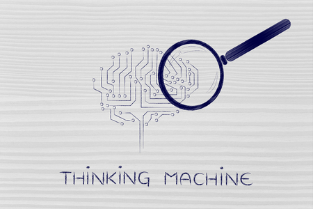thinking machine: magnifying glass analyzing an electronic circuit brain