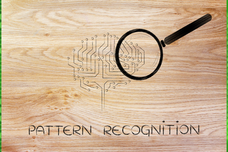 elaboration: pattern recognition: magnifying glass analyzing an electronic circuit brain