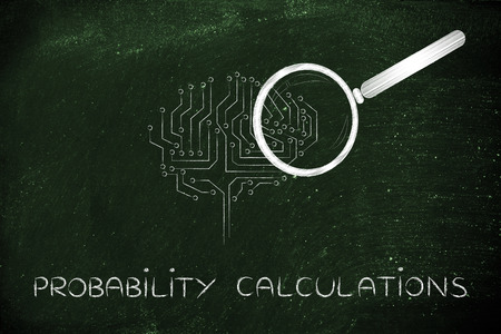 thinking machines: probability caculations: magnifying glass analyzing an electronic circuit brain Stock Photo