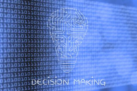 circuitos electronicos: decision making: electronic circuits creating the shape of a lightbulb Foto de archivo