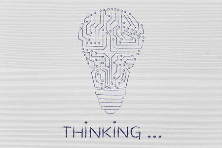 circuitos electronicos: pensando: circuitos electrónicos que crean la forma de una bombilla