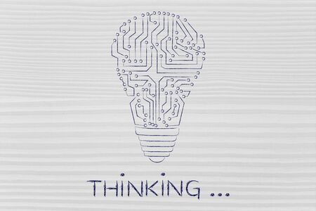 thinking machines: thinking: electronic circuits creating the shape of a lightbulb Stock Photo