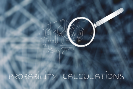 probability caculations: magnifying glass analyzing an electronic circuit brain Stock Photo