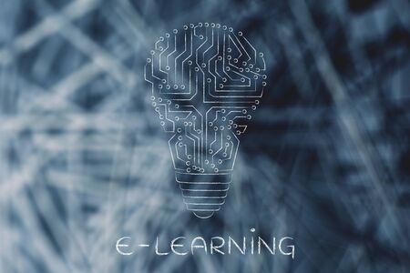 circuitos electronicos: e-learning: circuitos electrónicos que crean la forma de una bombilla Foto de archivo