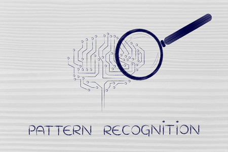 pattern recognition: magnifying glass analyzing an electronic circuit brain
