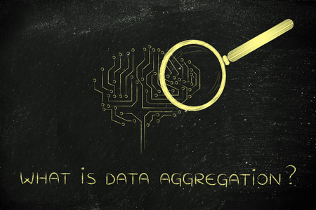 what is data aggregation: magnifying glass analyzing an electronic circuit brain Stock Photo