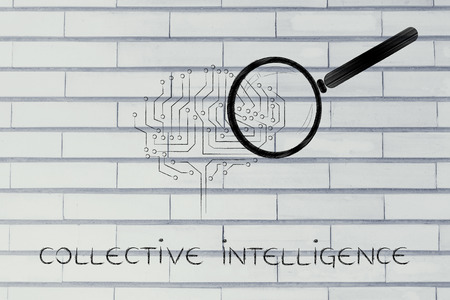 aggregation: collective intelligence: magnifying glass analyzing an electronic circuit brain