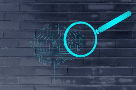 elaboration: magnifying glass analyzing an electronic circuit brain