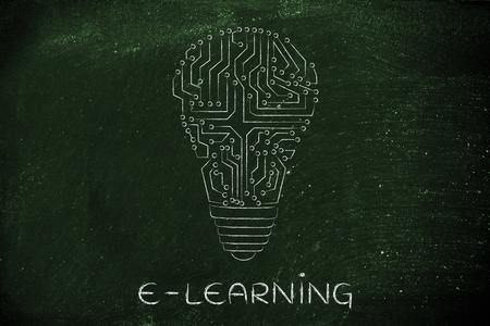 circuitos electronicos: e-learning: electronic circuits creating the shape of a lightbulb Foto de archivo