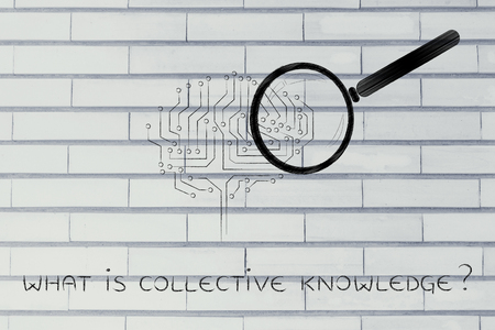 collective: what is collective knowledge: magnifying glass analyzing an electronic circuit brain