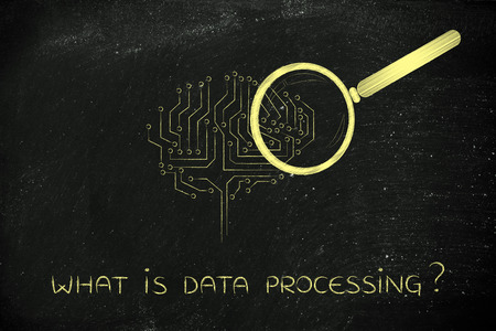 what is data processing: magnifying glass analyzing an electronic circuit brain
