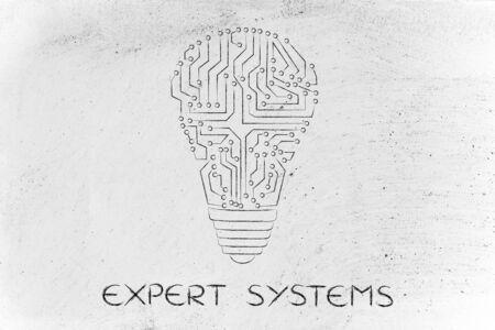 circuitos electronicos: sistemas expertos: los circuitos electr�nicos que crean la forma de una bombilla Foto de archivo