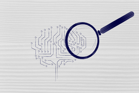 aggregation: magnifying glass analyzing an electronic circuit brain