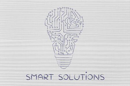 circuitos electronicos: smart solutions: electronic circuits creating the shape of a lightbulb Foto de archivo