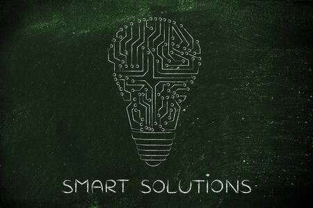 smart solutions: smart solutions: electronic circuits creating the shape of a lightbulb Stock Photo