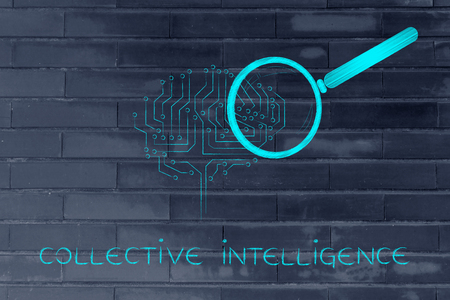 collective: collective intelligence: magnifying glass analyzing an electronic circuit brain