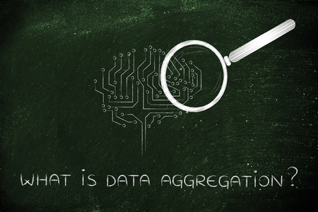 aggregation: what is data aggregation: magnifying glass analyzing an electronic circuit brain Stock Photo