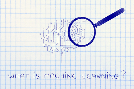 aggregation: what is machine learning: magnifying glass analyzing an electronic circuit brain Stock Photo