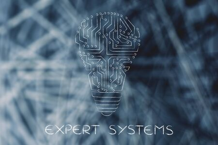 circuitos electronicos: expert systems: electronic circuits creating the shape of a lightbulb
