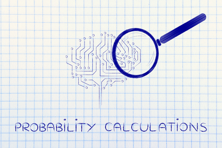 probability caculations: magnifying glass analyzing an electronic circuit brain