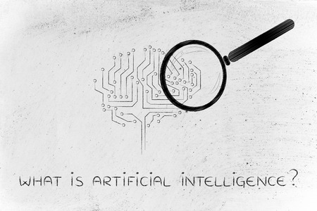 what is artificial intelligence: magnifying glass analyzing an electronic circuit brain