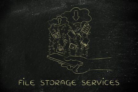 file storage services: clouds with up and down transfer arrows, different types  of documents and binary code rain above smartphone