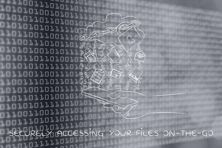 accessing: securely accessing your files on-the-go: locked up cloud with different types  of documents and binary code rain above smartphone Stock Photo