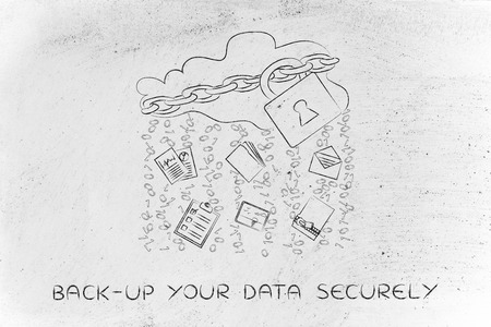 locked up: back-up your data securely: locked up cloud with different types of documents and binary code rain Stock Photo
