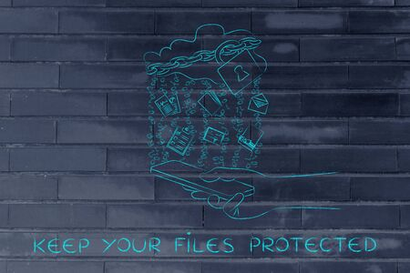 keep your files protected: locked up cloud with different types of documents and binary code rain above smartphone