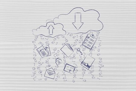 binary file: clouds with up and down transfer arrows, different types  of documents and binary code rain