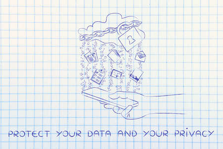 binary file: protected your data and your privacy: locked up cloud with different types of documents and binary code rain above a smartphone
