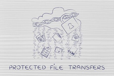 protected file transfers: locked up cloud with different types of documents and binary code rain Stock Photo