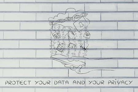locked up: protected your data and your privacy: locked up cloud with different types of documents and binary code rain above a smartphone