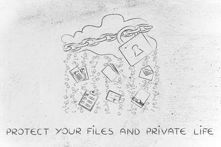 protect your files and private life: locked up cloud with different types of documents and binary code rain Stock Photo